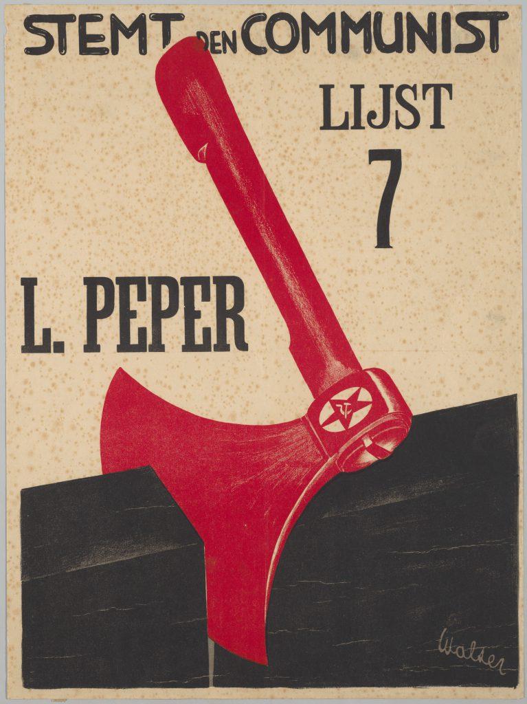Affiche Stemt den communist Lijst 7 L. Peper